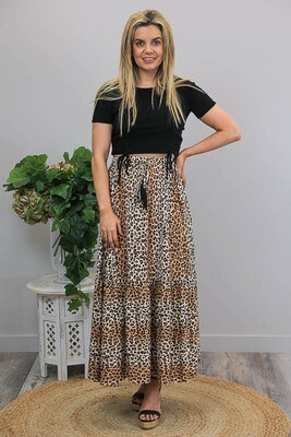 Galloping Gypsy BoHo Maxi Skirt - Tan Leo