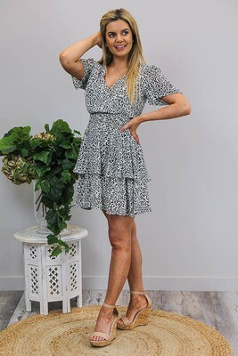 Sheila Tier S/S Miniish Dress - Ivory/Black Tan Micro Leo
