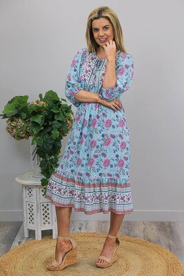 Cheska M/S BoHo Midi Dress - Aqua/Pink Bloom