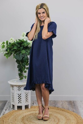 Charmed Frill Linen Midi Dress - Navy
