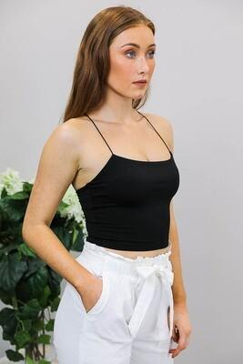 Cordelia Singlet Crop Top - Black