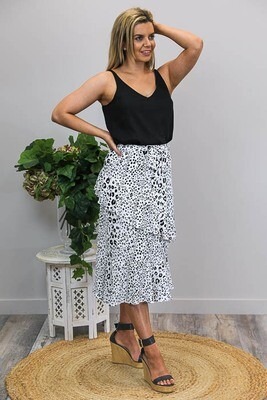 Kewpie Tier Midi Skirt - White Leo