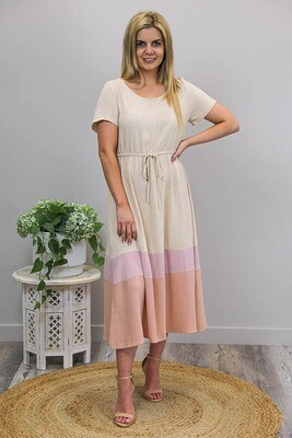Neapolitan Kisses Maxi Dress - Latte/Blush/Mocha