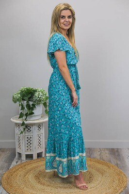 Kingfisher Button Maxi Dress - Teal/White Floral