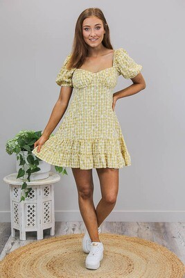 Sweet Like Honey Mini Dress - Mustard/White Daisy