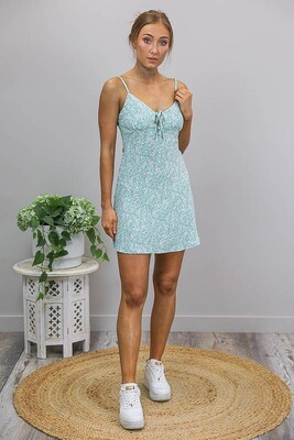 Peppermint Crush Mini Dress - Mint/White Fleur