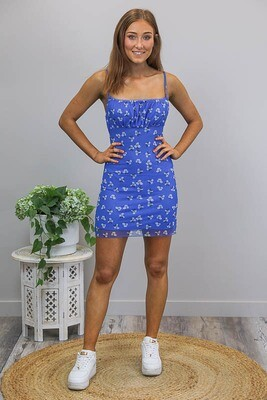Peekablue Mini Dress - Royal Blue Floral
