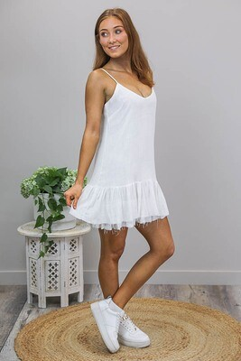 Oceana Raw Edge Miniish Dress - White Linen Blend