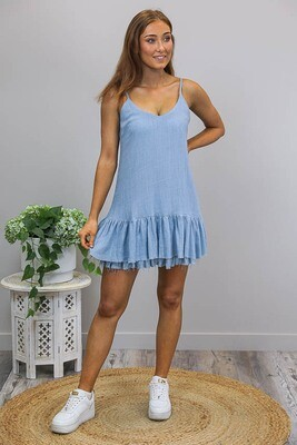 Oceana Raw Edge Miniish Dress - Antique Blue Linen Blend
