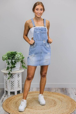 Favourite Rip Dungaree Dress - Light Denim