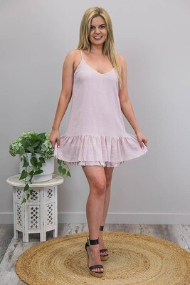 Oceana Raw Edge Miniish Dress - Blush Linen Blend