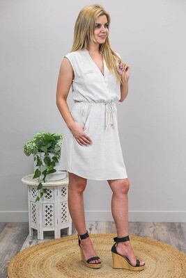 Luna Button Miniish Dress - Natural Linen Blend