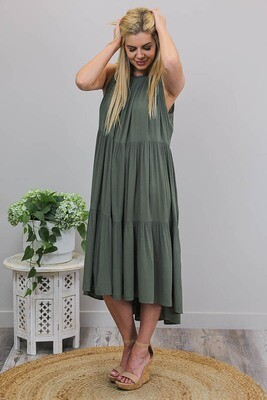 Bon Bon Maxi Dress - Khaki