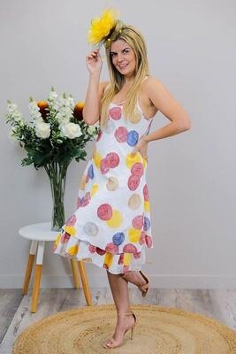 Dolly Dolly Midi Dress - White/Multi Large Spots