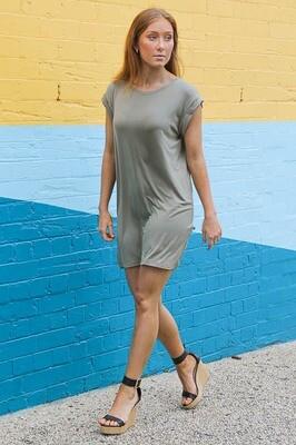 Lazy Dayz T-Shirt Dress - Khaki