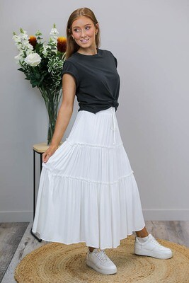 Carly Frill Midi Skirt - White