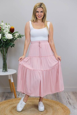 Carly Frill Midi Skirt - Dusty Pink