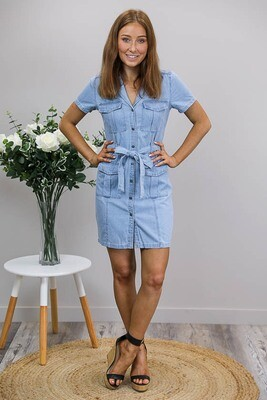 Nala Chambray Shirt Dress - Light Denim