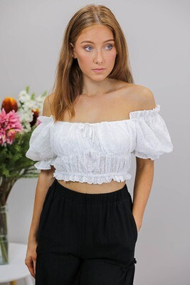 7th Heaven Anglaise Peasant Crop Top - White