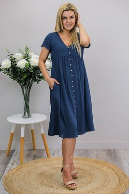 Hanna Button Midi Dress - Navy Linen Blend
