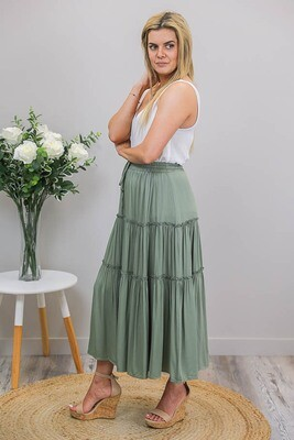 Carly Frill Midi Skirt - Khaki