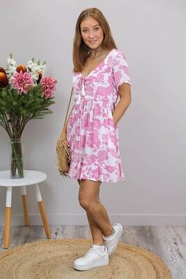 Tia Tassel Miniish Dress - White/Fuchsia Bloom
