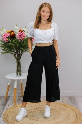Coral Beach Culotte Pants - Black