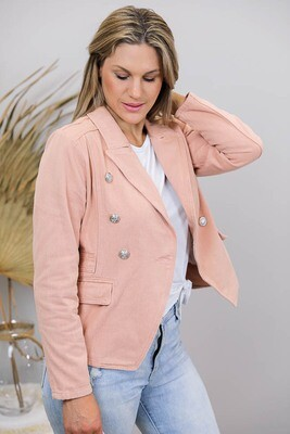Mambo Military Denim Jacket - Antique Pink