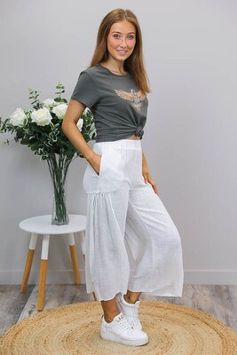 Coral Beach Culotte Pants - White