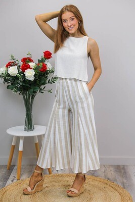 Willa Flare Culotte Pants - Latte/Cream Stripe