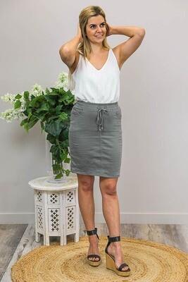 Burraneer Drawstring Knee Skirt - Khaki