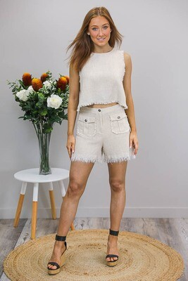 Delaney Fray Shorts - Natural