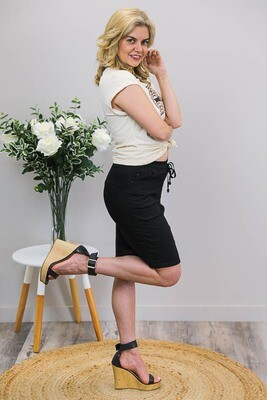 Burraneer Drawstring Knee Skirt - Black