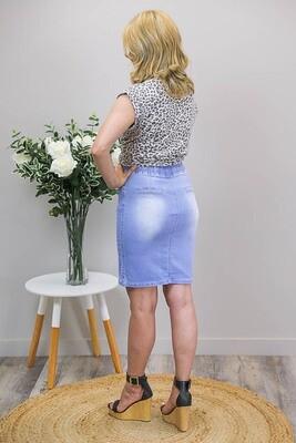 Burraneer Drawstring Knee Skirt - Light Denim