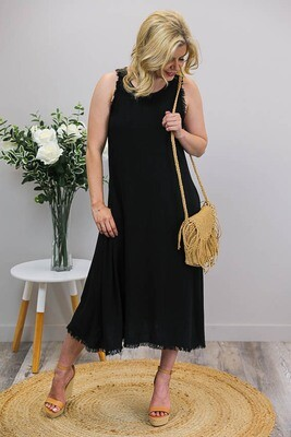 Dahlia Fray Midi Dress - Black