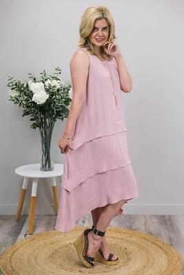 Shady Beach Midi Dress - Blush Linen Blend