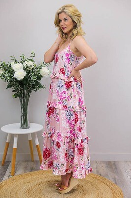 Francis Frill Tier Tie Maxi Dress - Coral/Pink Bloom