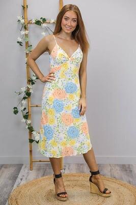 The New Sassy As Midi Dress - White/Yellow Blue Bloom
