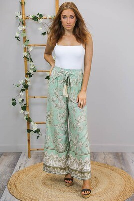 Tanny Tie  Premium Culotte Pants - Mint/Bronze Frond