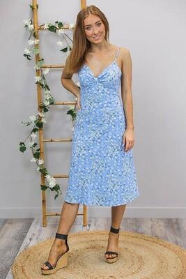 The New Sassy As Midi Dress - Sky Blue/White Fleur
