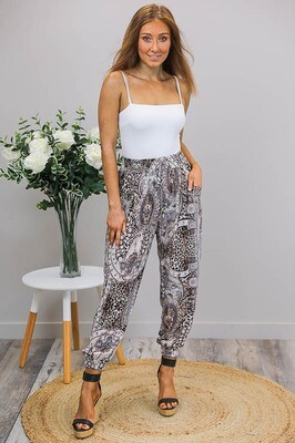 Jasmine Gems Harem Pants - Ivory/Royal Leo