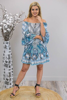 Jade Gems Mini Dress - Turquoise/White Paisley