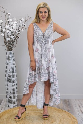 Olympia Gems Hi Lo Dress - White/Silver Paisley