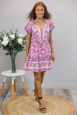 Chateau S/S BoHo Mini Dress - Blush/Purple Fleur