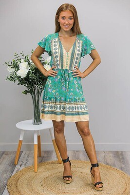 Chateau S/S BoHo Mini Dress - Sea Green/Beige Fleur