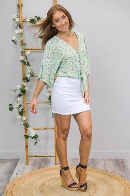Lovely Lady Button Tie Top - Mint/Saffron Fleur