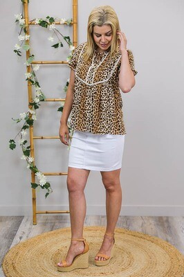 Lucky Detailed S/S Top - Tan Leo