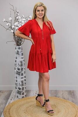 Merry Berry Miniish Dress - Red
