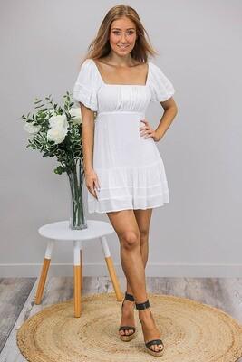 Bella Peasant Mini Dress - White