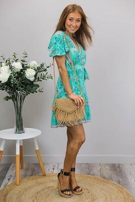 Esmerelda Wrap Mini Dress - Turquoise/Teal Fleur